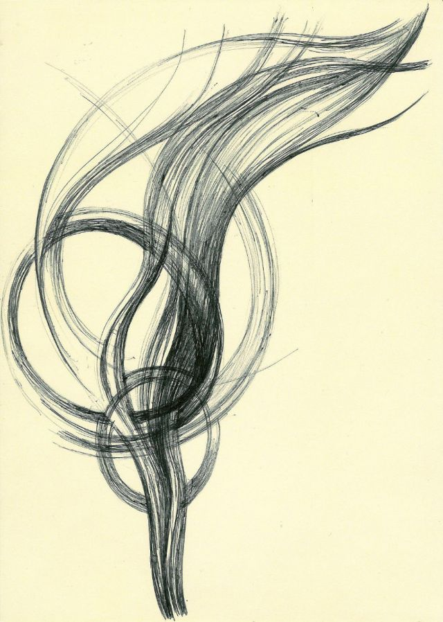 abstract line drawing pen and ink on card