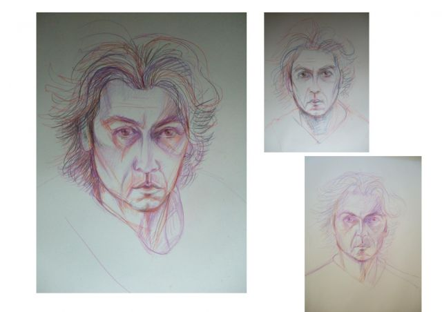 3 self portraits 'Insomnia'  crayon on paper  2000 .jpg