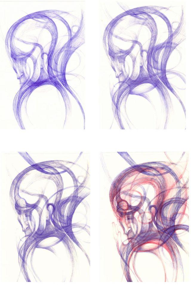 evolution 'head'    ink on card    2014