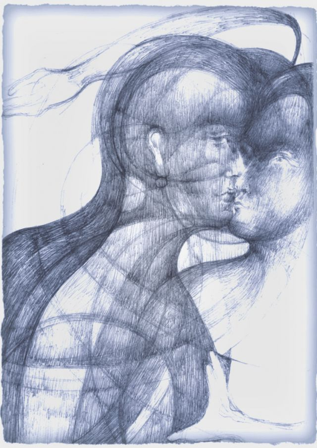 'the kiss'  graphite on card  2012